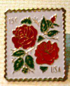 Red Roses rose flower stamp pins lapel pin hat 1737