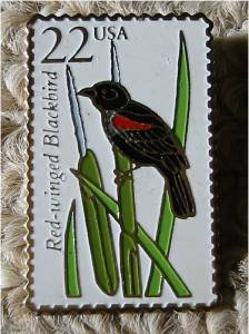Red-winged Blackbird stamp pins lapel pin tie tac 2303