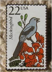 Mockingbird Wildlife stamp pin lapel pins tie tac 2330