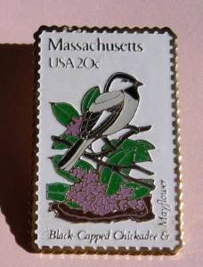 MA Black-Capped Chickadee Mayflower stamp pin lapel pins 1973