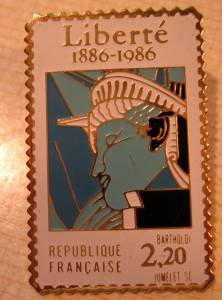 Statue Liberty Liberte stamp pin lapel pins hat 2224f