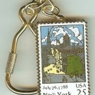New York NY Constitution Ratified stamp keychain 2346kc