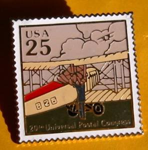 Mail Transportation Biplane USPS stamp pin lapel 2436