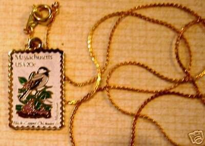 Massachusetts Chickadee stamp necklace pendant 1973n