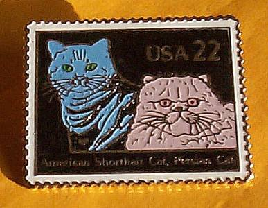 American Shorthair Persian Cat Stamp pin lapel hat 2375