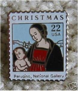Madonna Perugino cloisonne stamp pin lapel hat 2244 s