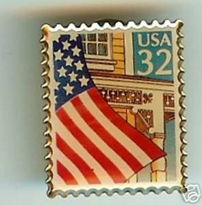 U.S. Flag on a Porch stamp pin hat lapel pins 2913 s