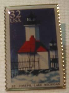 St. Joseph Michigan MI Lighthouse stamp pin pins 2970 s
