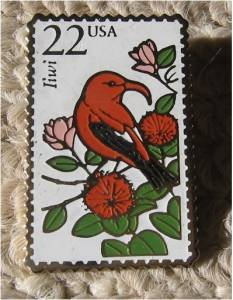 Iiwi Wildlife bird stamp pin lapel pins tie tac 2311