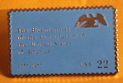 Constitution Bicentennial Stamp Pin lapel pins hat 2355