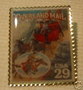 Old West Overland Mail  stamp pin lapel pins hat 2869t S