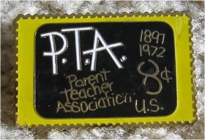Parent Teacher Association PTA stamp pin lapel hat 1463