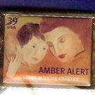 Amber Alert Stamp Pin lapel pins hat tie tac NIP 4031