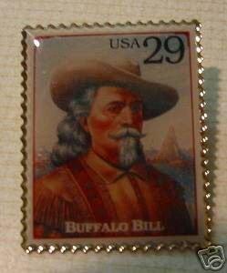 Buffalo Bill Cody West stamp pin lapel pins hat 2869b S