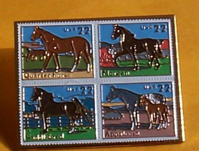 Horses Horse block Stamp Pin lapel pins hat 2155-58