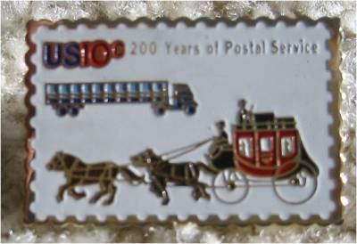 USPS Stagecoach Trailer Truck stamp pin lapel pins 1572