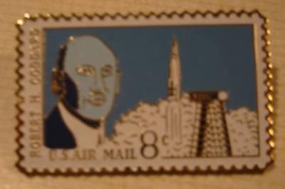 Robert Goddard NASA stamp pin lapel pins hat C69 S