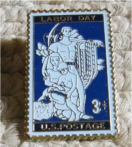 Labor Day stamp pin lapel pins hat tie tac 1082