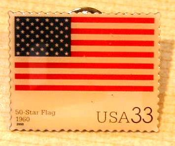 Fifty Star U.S. Flag Stamp Pin lapel pins hat 3403t s