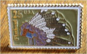 Flathead Indian Headdress stamp pin lapel pins hat 2504 S