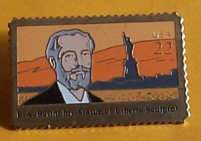 Bartholdi Statue of Liberty Stamp Pin lapel pins hat 2147 s