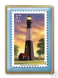 Tybee Island GA Lighthouse stamp pin lapel tie tac 3790