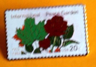 International Peace Garden Roses stamp pin lapel 2014