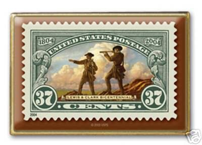 Lewis Clark Stamp Pin lapel pins hat tie tac NIP 3854