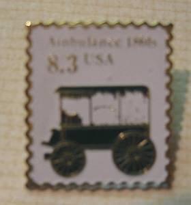 Ambulance 1860s Transportation Stamp Pin lapel 2128