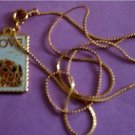 Love 1986 Stamp cloisonne necklace pendant 2202n