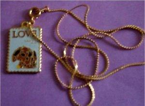 Love 1986 Stamp cloisonne necklace pendant 2202n