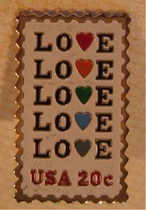 Love 1984 Stamp pin lapel hat cloisonne tie tac 2072smw S
