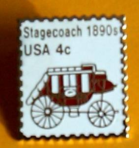 Stagecoach transportation  stamp pin lapel pins 1898A