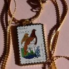 Alaska Ptarmigan Forget-me-not stamp necklace 1954n