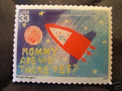 Mommy Are We There Yet? Stamp Pin lapel pins hat 3416
