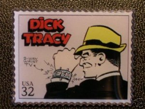 Dick Tracy Comics stamp pin lapel pins hat 3000m