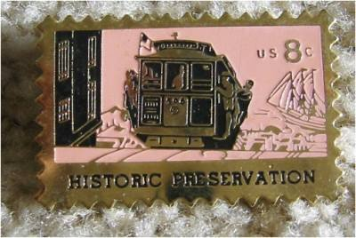 San Francisco Cable Car stamp pin lapel pins hat 1442