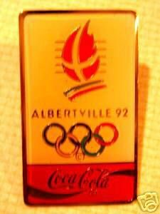 Coke Coca-Cola Olympic pin Albertville '92 lapel hat m1