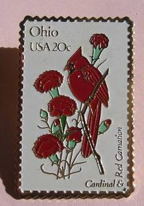 Ohio OH Cardinal Red Carnation stamp pin pins 1987 S