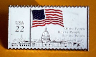 U.S. Flag over Capitol Stamp Pin lapel pins hat 2116 S