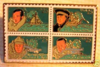 Antarctic Explorers Wilkes Byrd Ellsworth Palmer stamp pin hat 2386-89 s