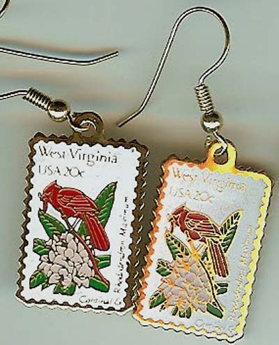 West Virginia Cardinal Rhododendron stamp earrings 2000ew s