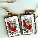 Virginia Cardinal Dogwood stamp earrings 1998ew NIP s