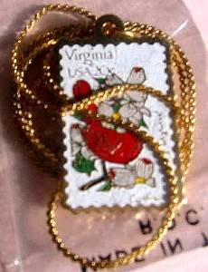 Virginia Cardinal Dogwood stamp necklace 1998n NIP s