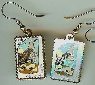 Utah California Gull Sego Lily stamp earrings 1996ew s
