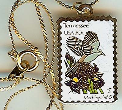 Tennessee Mockingbird Iris stamp necklace pendant 1994n s