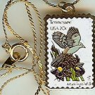 Tennessee Mockingbird Iris stamp necklace pendant 1994n s
