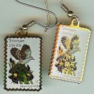 Tennessee Mockingbird Iris stamp earrings 1994ew NIP s