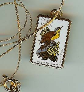 Oregon Western Meadowlark stamp necklace pendant 1989n s