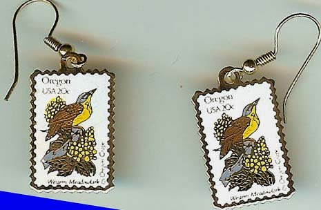 Meadowlark Oregon Grape stamp earrings 1989ew NIP s